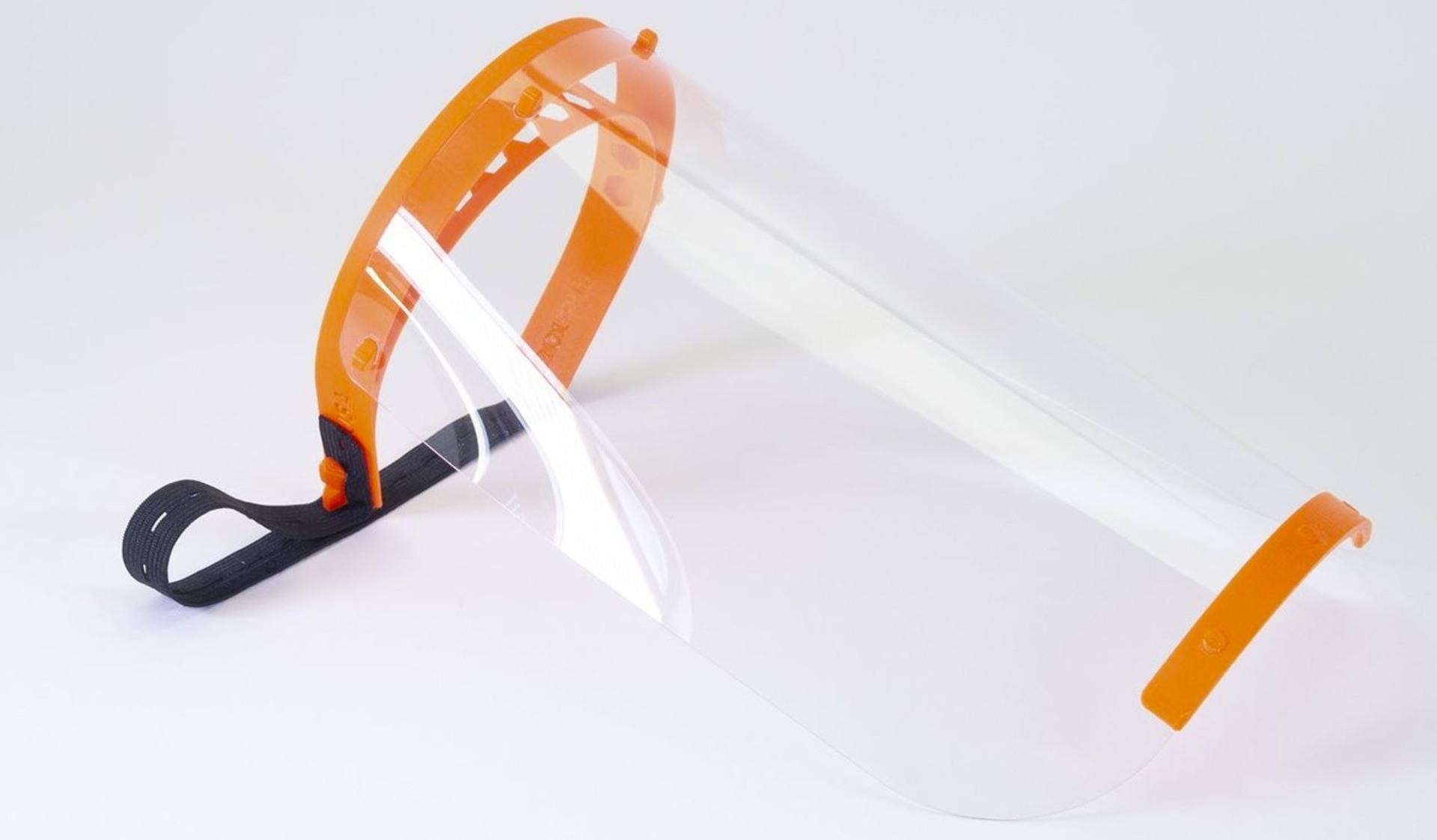 Das Bild zeigt das von Prusa entwickelte Face-Shield für den 3D Druck. (Quelle: www.prusa3d.com/covid19/)