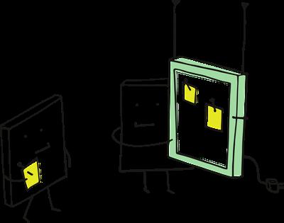 Das Bild zeigt zwei symbolische Figuren mit Tablets oder Smartphones.